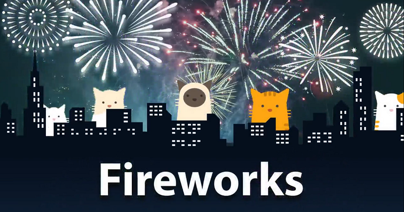 Fireworks, kittens and cats.